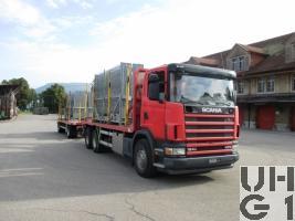Scania R124CB 6x4 NZ 470, Schwerer Motorwagen Kran 10,5 t Holztransportwagen schwer